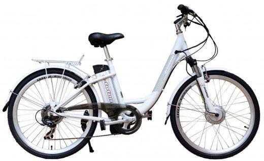 alt tekst: Afbeelding van elektrische fiets met lage instap.
